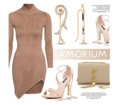"""""""Neutral"""" by amorium ❤ liked on Polyvore featuring Amorium, Yves Saint Laurent, gold, earrings and camel"""