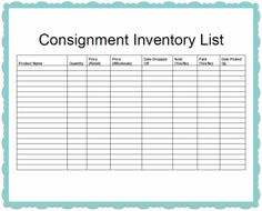 Consignment Inventory Template | news | Made Urban Inc./