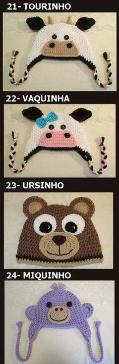 .Toucas em crochê com motivo de animais para bebês