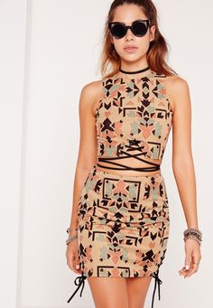Missguided - Faux Suede Printed Eyelet Lace Up Side Mini Skirt Multi