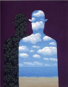rene magritte. Use online websites to create a silhouette and then scrapbook paper to get the overlapped images!