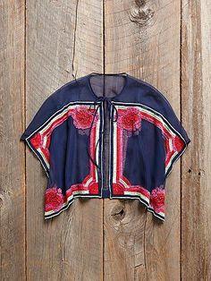 Free People Vintage Sheer Poncho Top