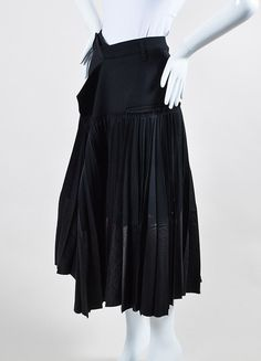 Haider Ackermann Black Wool Pleated Wrap Midi Skirt