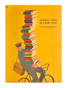 Polish poster from 1955 – Book supplies for winter