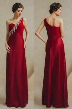 Elegant One Shoulder Ruched Floor Length Red Evening Dress Cheap