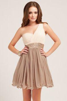 Little Mistress Cream & Taupe Embellished One Shoulder Dress