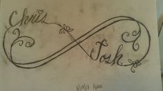Sketch of infinity tattoo with my sons names, that I drew this morning.
