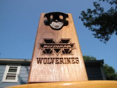 Michigan Wolverines Wall mounted Bottle Opener  Little Rhody Crafts