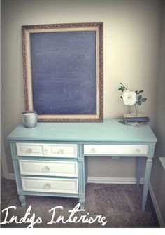 French Provincial Blue and White Desk / Table with Crystal Knobs on Etsy, $275.00