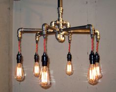 Industrial  Black Malleable Iron 6Bulb by MiltonDouglasLampCo