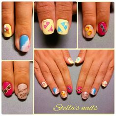 Summer nails!!! Funky handpainted design! Swimwear, beach, sunglasses, mermaid effect, 3D ice cream, 3D flip flops!!