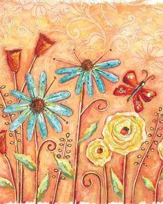 Burst of Flowers Orange art by Lori Siebert by LoriSiebertStudio on Etsy