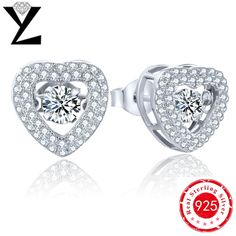 New Fashion White Gold 925 Sterling Silver CZ Stud Earrings Brands with Dancing CZ Diamond Designer Earrings for Women Luxury