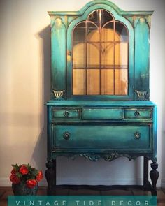 This piece is stunning! It is painted in Daisy, Peacock, The Gulf, Mermaid Tail, Coffee Bean, and Dixie Belle Blue. It is also coated with… Funky Furniture, Repurposed Furniture, Furniture Makeover, Furniture Board, Furniture Decor, Diy Furniture Projects, Unique Furniture, Furniture Styles, Refurbished Furniture