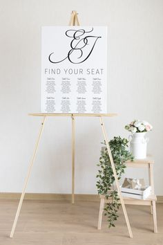 Printable Minimalist Seating Chart Wedding | Black and White Seating Plan | Calligraphy Wedding Seating Poster | Customised Wedding Sign Wedding Signs, Wedding Ceremony, Reception, Wedding Day, Seating Chart Wedding, Seating Charts, Wedding Black, Wedding Calligraphy, Color Card