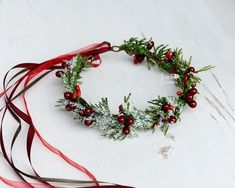 Winter floral crown for Toddler - Child - Adult Holiday Winter Flower Crown Christmas red berry crown Snowy Halo Photo Prop Winter wedding Christmas Hat, Christmas Wedding, Christmas Themes, Christmas Crafts, Christmas Decorations, Corona Floral, Photo Prop, Winter Flowers, Winter Bouquet
