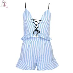 Blue Two Pieces Co-ords V-neck Striped Lace Up Ruffled Crop Top Camis Vest Shorts Beachwear 2016 Summer Women Clothing Sets
