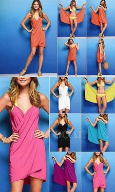 DIY Swimsuit Cover - under 2 yards of fabric & about 25 minutes of your time Sewing Dress, Sewing Clothes, Diy Kleidung, Beach Wrap, Creation Couture, Swimsuit Cover, Swim Cover, Bathing Suit Cover Up, Simple Dresses