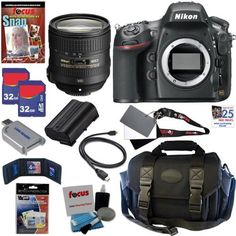 Nikon D800 36.3 MP CMOS FX-Format Digital SLR Camera with 24-85mm f/3.5-4.5G ED VR AF-S Nikkor Zoom Lens + EN-EL15 Battery + 10pc Bundle 64GB Deluxe Accessory Kit by Nikon. $3299.95. The Nikon D800  Every photo will astound. Every video will dazzle.Hold in your hands an HD-SLR able to capture images rivaled only by those produced with a medium-format camera: extremely low noise, incredible dynamic range and the most faithful colors. Meet the Nikon D800, a 36.3 megapixel FX...