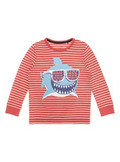 This fun tee shows a print of a silly shark over a striped pattern. Team this cotton rich piece over a simple pair of joggers and he's ready for playtime. Boys red cool dude tee Cotton rich Pattern Print Crew neck Long sleeves Keep away from fire