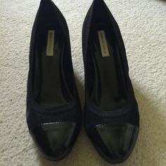 Black sued pump with Patton leather toe Black sued pump with Patton leather toe.  Heel is 2 inches.  Worn once.  Heels shoe no sign of wear. Dana Buchman Shoes Heels