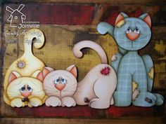 Arte Madeira Joinville: Pintura Country e Folk Art.idea for applique Tole Painting, Fabric Painting, Painting On Wood, Cat Crafts, Wood Crafts, Arts And Crafts, Arte Country, Country Crafts, Nici Teddy