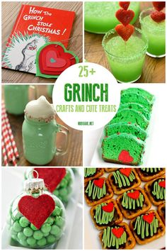 Grinch crafts and treats Celebrate Christmas with the story of the Grinch. We have you covered with cute treats and fun crafts for the kids. Christmas Grinch Punch Recipe, Christmas Party Drinks, Grinch Christmas Party, Grinch Party, Christmas Snacks, Toddler Christmas, Christmas Goodies, Christmas Books, Redneck Christmas