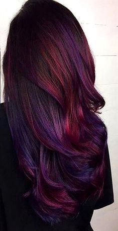 Purple Hair Highlights, Hair Color Purple, Cool Hair Color, Galaxy Hair Color, Red Violet Hair, Violet Hair Colors, Peekaboo Highlights, Red Ombre Hair, Autumn Hair Colors