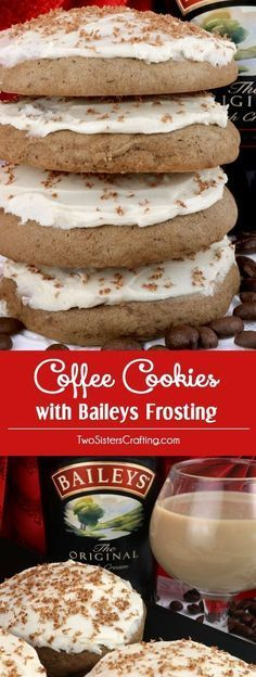 Coffee Cookies with Baileys Frosting - delicious cakey cookies infused with just a hint of coffee and topped with our creamy, Baileys Irish Cream frosting. This Christmas Cookie recipe would be a great Christmas Dessert or Treat, Cookie Exchange recipe or just as a special treat for that coffee-lover in your family. Pin this tasty coffee dessert for later and follow us for more great Christmas Food Ideas. #ChristmasCookie #CookieRecipe #CoffeeDessert #ChristmasDessert #ChristmasTreat