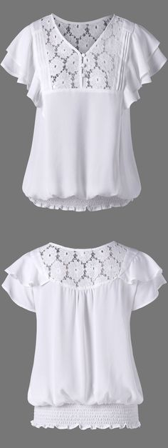 $14.53 Layered Sleeve Shirred Blouse - White