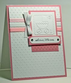 Cuttle bug baby shower card. (Girl)  Good layout for any color scheme, could be a Birthday stamped square....