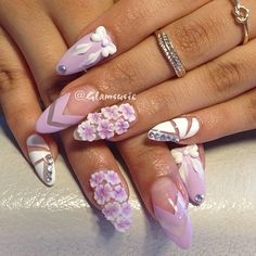 54 Unique and Beautiful Nail Designs To Try Now; Fabulous Nails, Gorgeous Nails, Pretty Nails, Rhinestone Nails, Bling Nails, Hot Nails, Hair And Nails, 3d Nail Designs, Beautiful Nail Designs