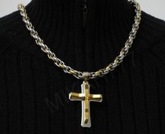 2c44d07a9e3 Conjunto Masculino em Aço Inox Corrente Cordão 10mm com pingente Crucifixo