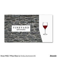 Stone Wall / Wine Glass Double-Sided Standard Business Cards (Pack Of 100) #businesscards #vineyard #rustic #stone #wine #winewednesday #sommelier #winetasting #vintage #ilovemyjob #passion #entrepreneur #entrepreneurs #calling #professional #jobs #craft #master #alcohol #winetime #winelover