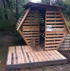A Pallet House-- nope, not big enough, but could be big enough for homeless person to sleep in overnight -- or to use as a shed.