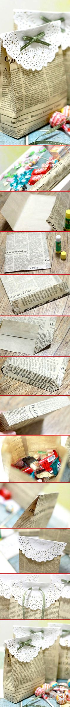 Come fare un sacchetto per regali o dolci dal giornale | How to make a gift bag from newspaper | #DIY #howtomake #ricycling #quickidea #faidate #riciclocreativo #ideeveloci #tutorial