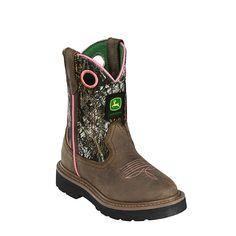 John Deere Children Girls Dark Brown Camo Leather Classic Cowboy Boots