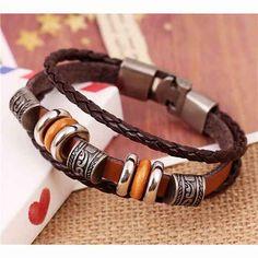Handmade Woven Elegant Brown Leather Bracelets //Price: $9.95 & FREE Shipping //