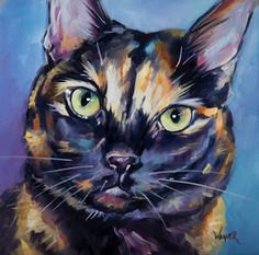 Olga Wagner Paints: FACES of RESCUE 100 CATS - MISS KITTY 52/100...MISS KITTY - 8x8 Oil on Panel