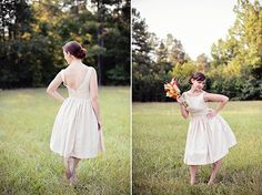 Tea length wedding dress from Tenderlane Etsy shop. Photos by Chelsea N Photography