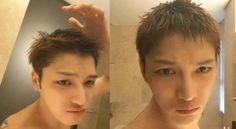 Kim Jae-joong shares selfie with shorter hair, one day before army enlistment Army Enlistment, Korean Variety Shows, Park Yoo Chun, Kim Jae Joong, Happy Photos, Big Crush, Jaejoong, Tvxq, Korean Model