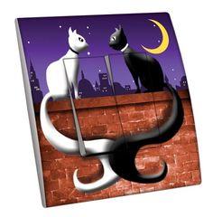 Interrupteur décoré Animaux / Lune de chats double - Decorupteur