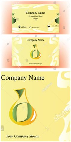 #vector #illustration #Business #card with #drop shaped #logo resembling a cruet, and steam decorations