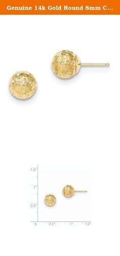 Genuine 14k Gold Round 8mm Checkerboard Diamond Cut Ball Earrings 8x8mm. Material: Primary - Purity:14K|Length of Item:8 mm|Material: Primary:Gold|Width of Item:8 mm|Product Type:Jewelry|Jewelry Type:Earrings|Material: Primary - Color:Yellow|Earring Closure:Post & Push Back|Earring Type:Ball.