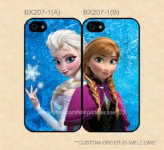 BX207-1 Disney Frozen Sisters Anna and Elsa Double Cases, iPhone 4/4s/5/5s/5C, Samsung Galaxy S2/S3/S4/S5/Note 2/3, Htc One S/X/M7 on Etsy, $27.99
