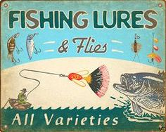 Old tin fishing sign
