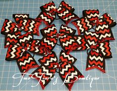 "Red black white chevron layered on black 3"" cheer bow trimmed in red glitter! I've done this for lots of teams! This works well for cheer or softball! Teams, squads, state, competition,  softball,  pro shops by Two Tiara's Bowtique on Etsy or Facebook as TwoTiaras Bowtique for more options and recent updates!  Check out this item in my Etsy shop https://www.etsy.com/listing/216854970/red-black-white-chevron-cheer-bow-team"