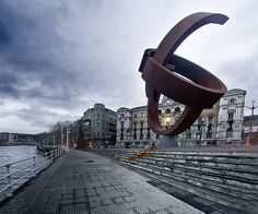 Jorge Oteiza sculpture in front of the Consistory Bilbao, Spain.