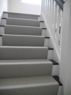 grey carpet black and white stairs runner Grey And White Hallway, Black Hallway, Black Stairs, White Staircase, Carpet Staircase, Carpet Runner On Stairs, Striped Carpet Stairs, Staircase Runner, Staircase Remodel