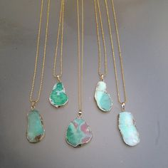 "Natural Chrysoprase freeform gemstone pendant on 30"" gold filled chain"